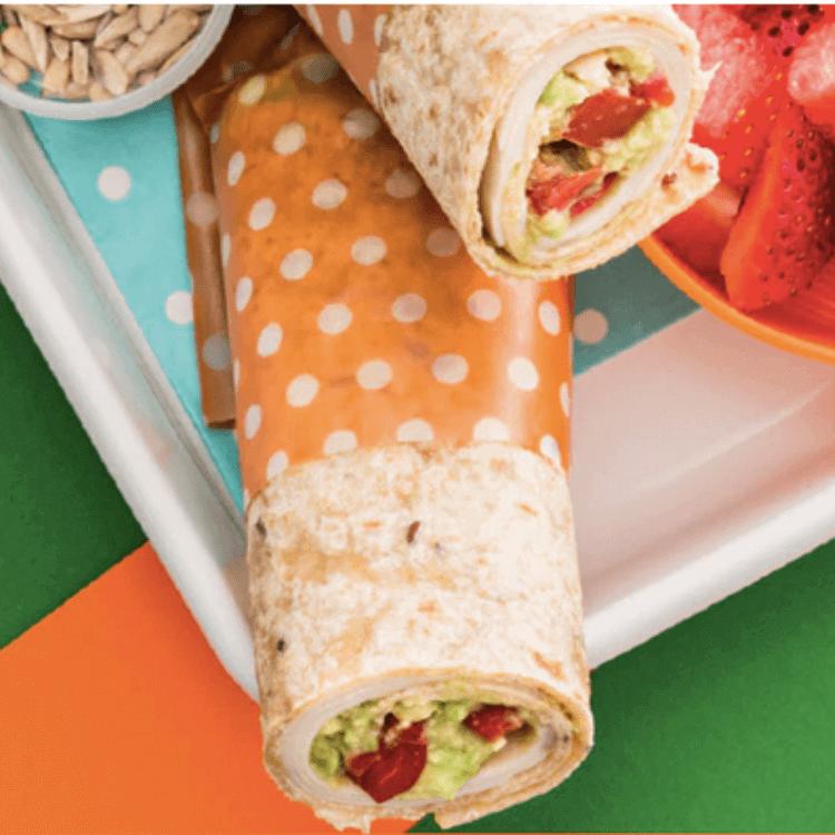 Guacamole and turkey wraps